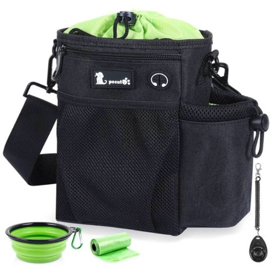 pecute black and green dog treat bag with silicone dog water bowl and a roll of dog poo bags