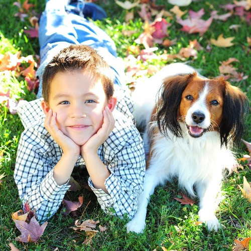 A boy and his dog sitting next to each other