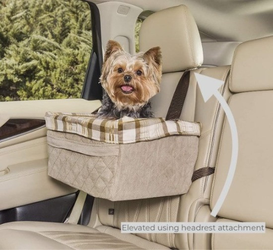 Dog in a Pet Safe Solvit Tagalong Booster Car Seat