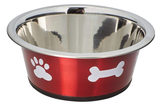 A christmas dog bowl in red with white bone design