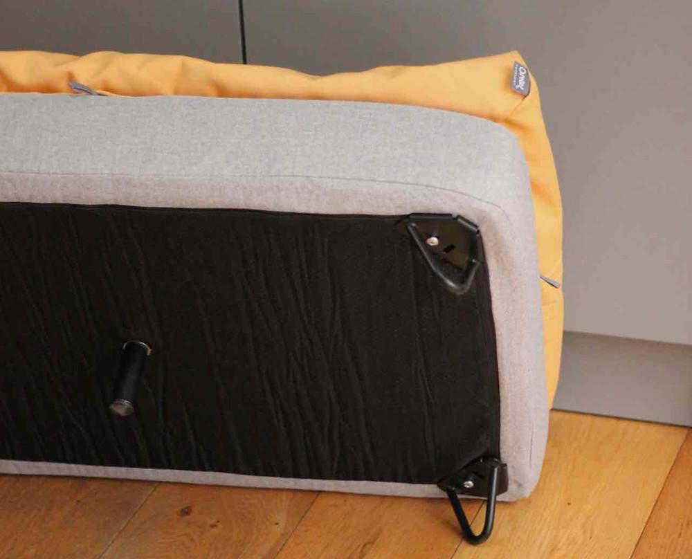 Underside of omlet topology dog bed showing leg fixings