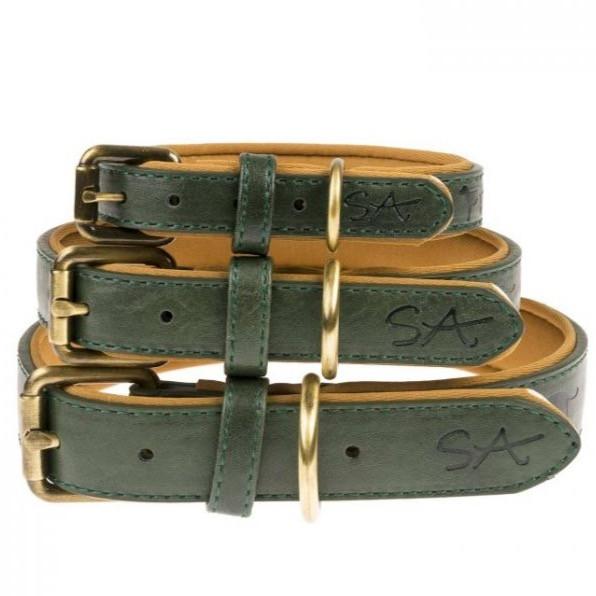 A set of three Sophie Allport green dog collars
