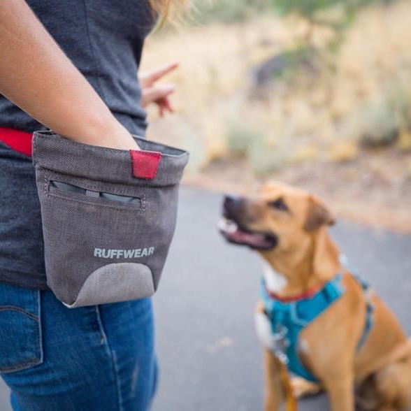 Ruffwear dog treat bag for training in grey with a red pull opening tag