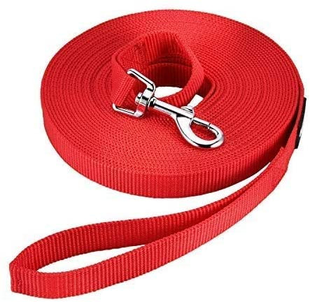 Long red lead for puppy training