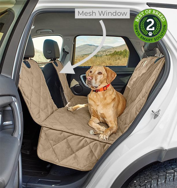 Orvis windowed dog hammock for rear car seat featuring quilting for dog comfort