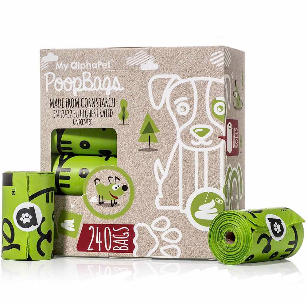 My AlphaPet poo bags packaging and rolls