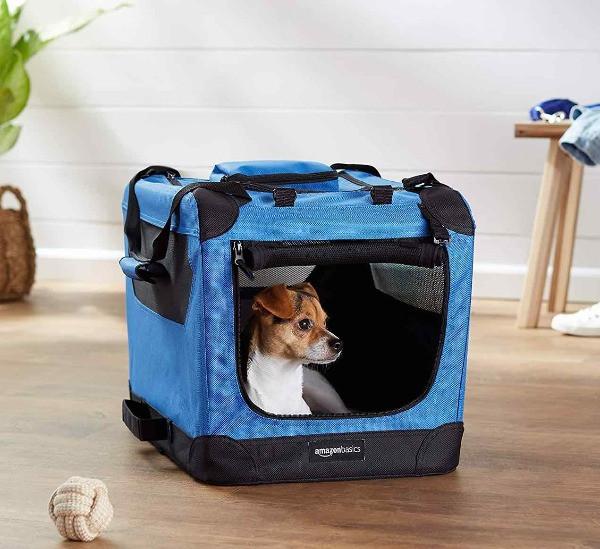 Amazon soft dog crate with white dog