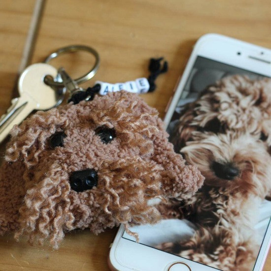 personalised cockapoo crochet dog key ring