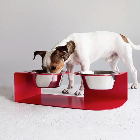 raised dog bowl stand in red with stainless steel removable bowls