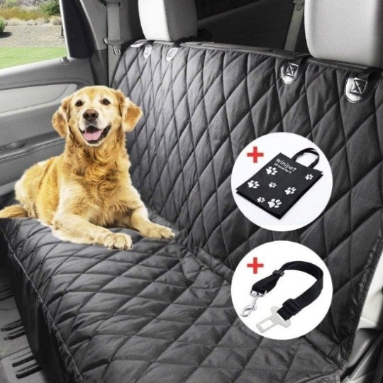 Dog on Wimypet quilted car bench seat cover showing headrest attachments