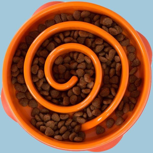 Outward Hound orange spiral slow feeder bowl for dogs