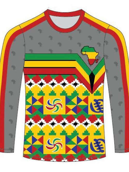African Print Polo (Long Sleeve)