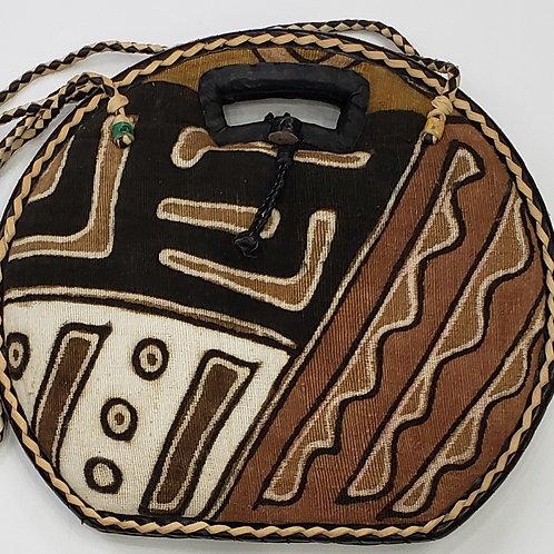 Mudcloth/Raffia Straw Handbag