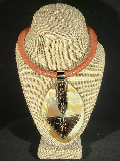 Animal Horn and Brass Pendant Necklace