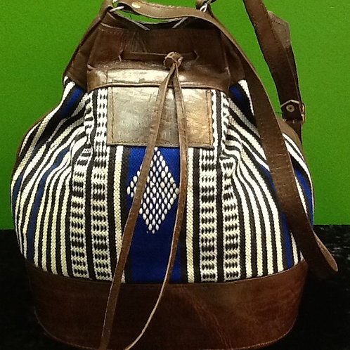 Fabric and Leather Handbag