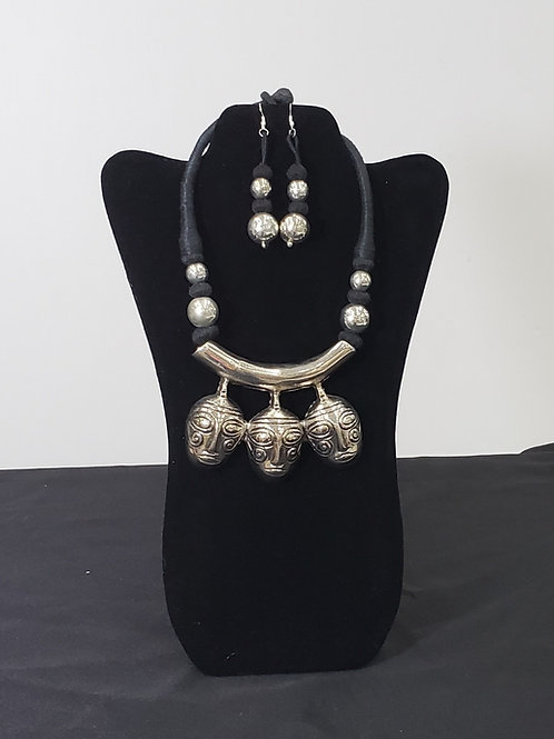 African Silver Masks Necklace