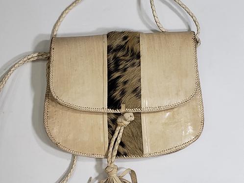 Leather and Animal Fur Handbag