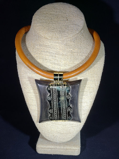 Ebony Wood and Brass Pendant Necklace