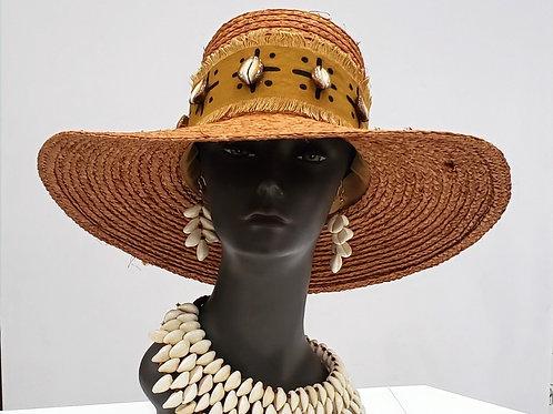 Ladies Mudcloth Print & Cowry Shell Hat