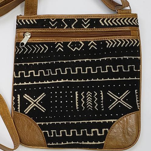Mudcloth/Leather Crossbody Bag