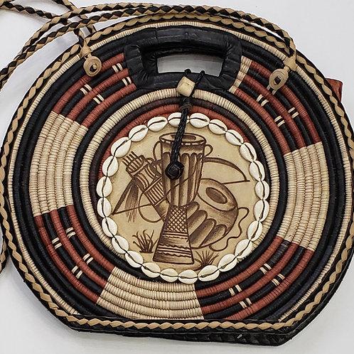 Leather/Raffia Straw Handbag