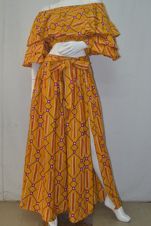 African Print Crop Top Skirt Set