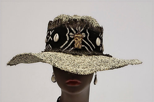Ladies Mudcloth and Cowry Shell Hat