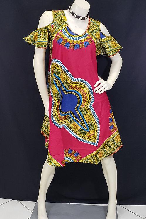 Dashiki Cold Shoulder Dress