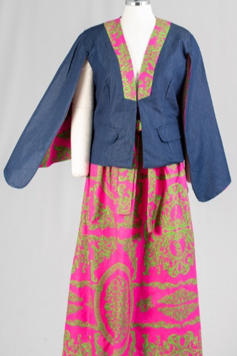 African Print Skirt and Denim Capelet 2pc Set