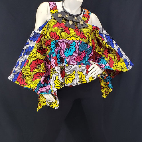 African Print Cold Shoulder Top