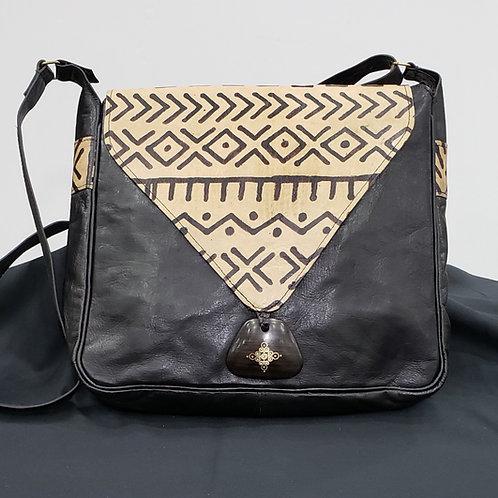 African Leather & Mudcloth Handbag
