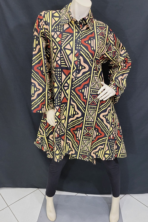 African Mudcloth Print Hi/Lo Top