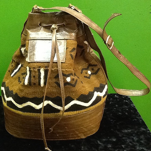 Mudcloth and Leather Handbag