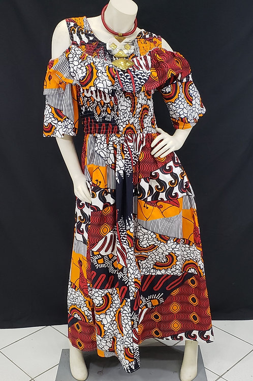 African Print Cold Shoulder Smock Dress