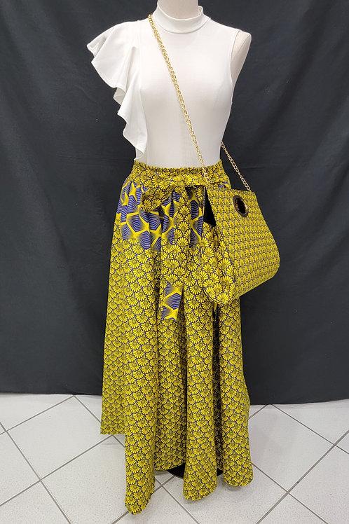 African Print Skirt w/Handbag