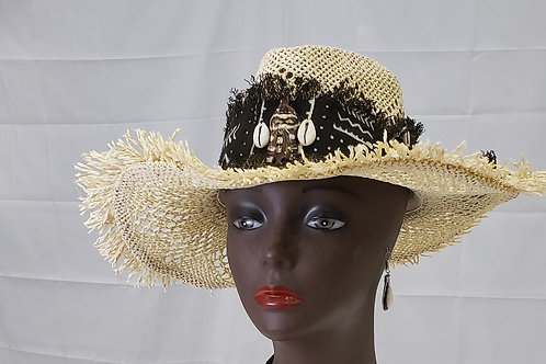 Ladies Mudcloth & Straw Hat