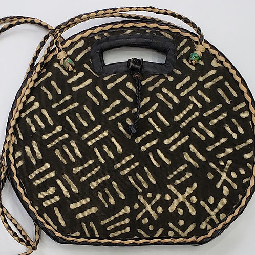 Mudcloth and Raffia Straw Handbag