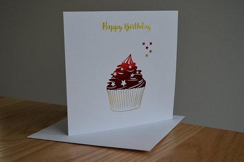 Happy Birthday Star Cupcake - Red Gold