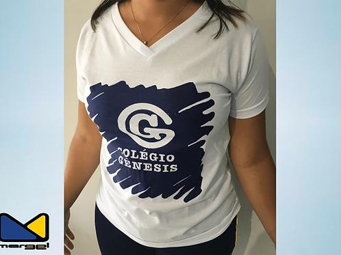 Camiseta Babylook com gola V colégio Genesis