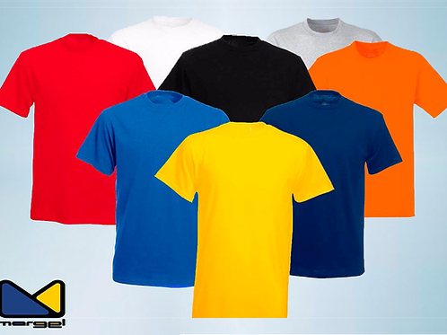Camisetas gola careca em algodão