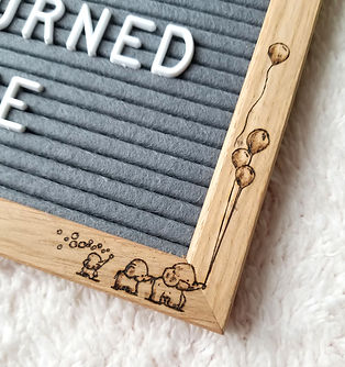 Hand woodburned art- Customizable baby elephants changeable felt letter board set with stand - Top quality gray felt and solid oak wood