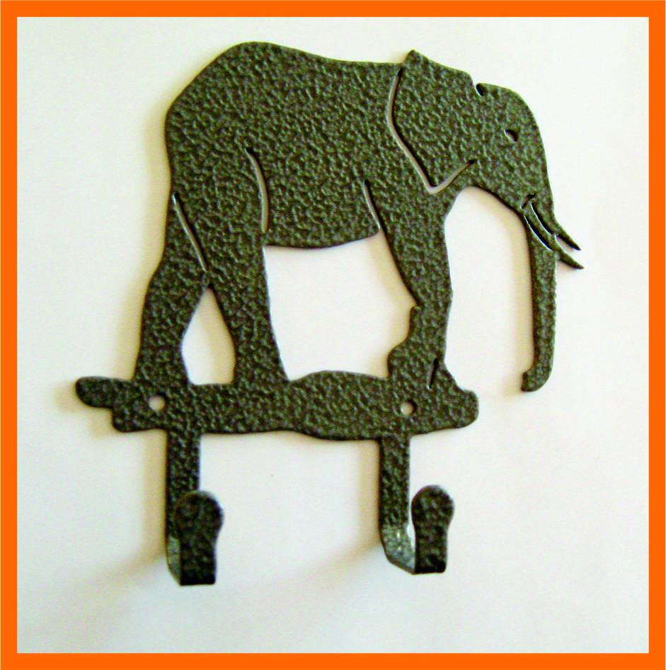 Крючок для одежды слон серый