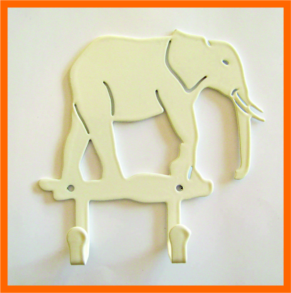 Крючок для одежды слон белый