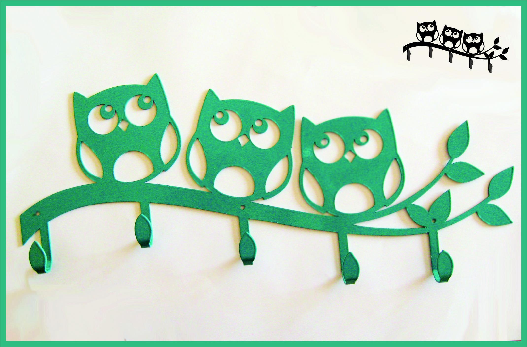 Крючки для одежды. Совы зеленые