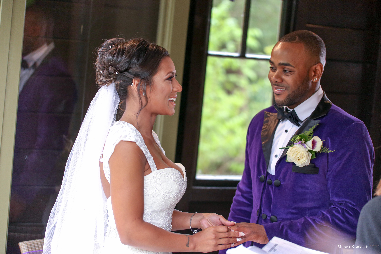 bride and groom look