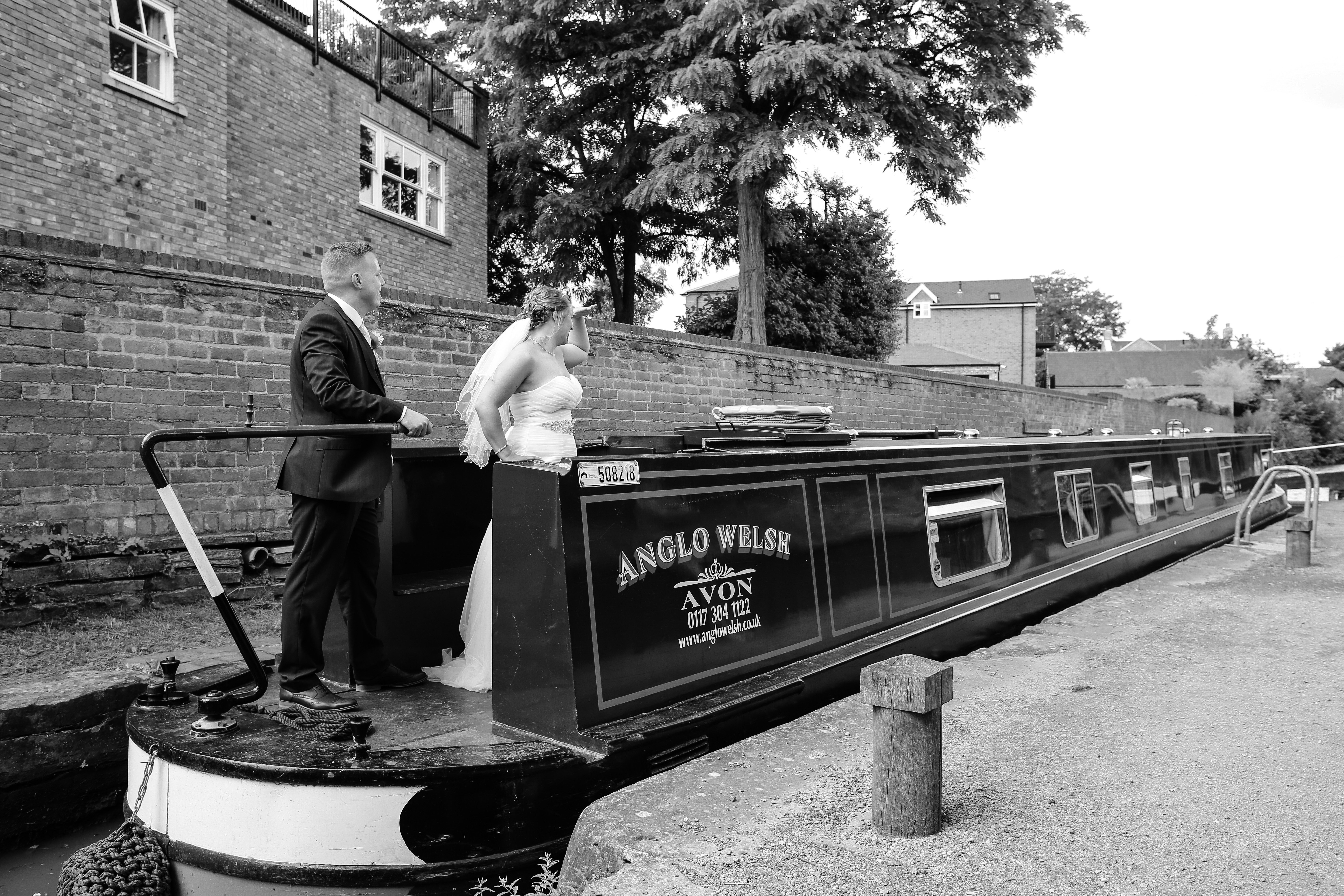 canal boat wedding couple