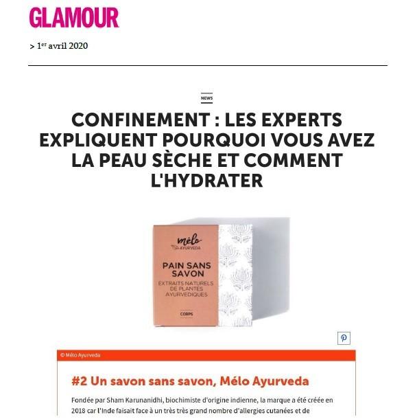 La presse Glamour parle de Melo Ayurveda savon sans savon