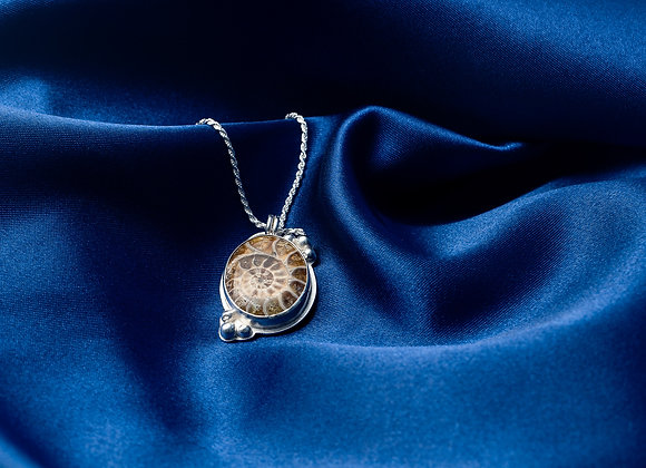 Ammonite and Sterling Silver Pendant