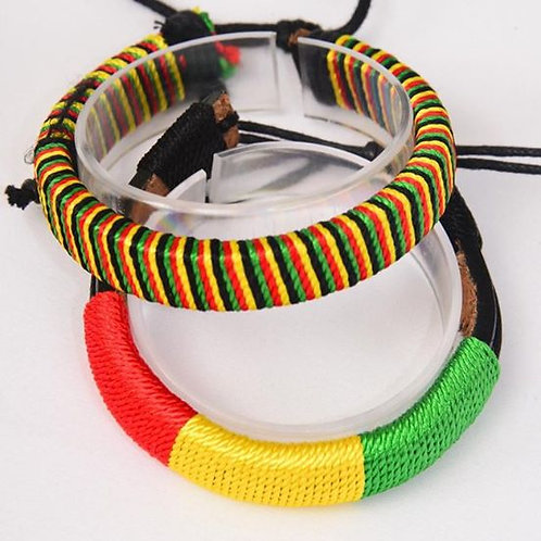 Rasta Jamaica Colors Bracelet w/ Real Leather Band