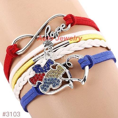 Autism Awareness Multi-Layer Charm Bracelet